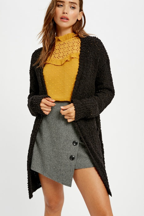 Broccato Popcorn Chunky Open Cardigan Black