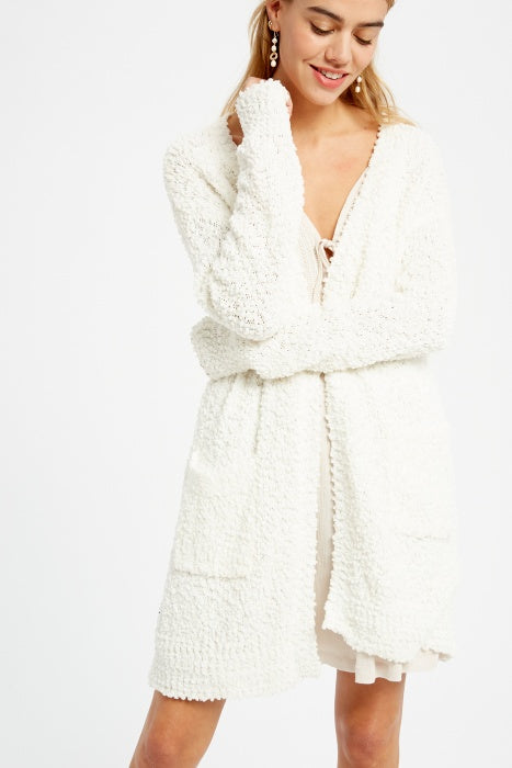 Broccato Popcorn Chunky Open Cardigan Cream