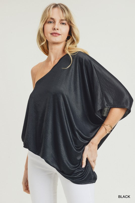 Buy Stretchy One Shoulder Top Black online at Southern Fashion Boutique Bliss