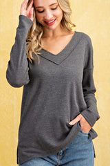 Buy Thermal Raw Edge V-Neck Top Charcoal online at Southern Fashion Boutique Bliss