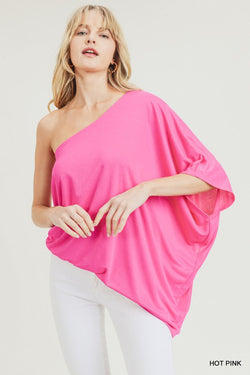 Stretchy One Shoulder Top Hot Pink