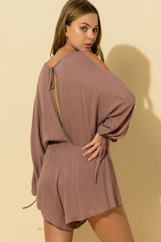 Buy Cold Shoulder Surplice Neck Romper Mauve online at Southern Fashion Boutique Bliss