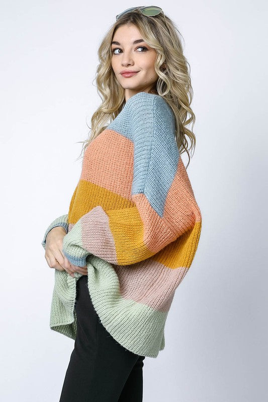 Stripe Colorblock Thick Knit Sweater Mint Multi