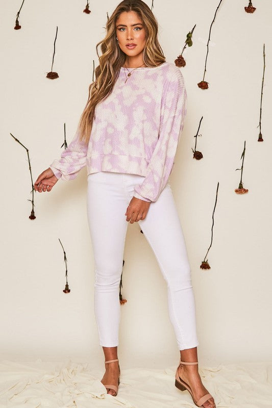 Buy Tie Dye Waffle Knit Twisted Back Top Lilac online at Southern Fashion Boutique Bliss