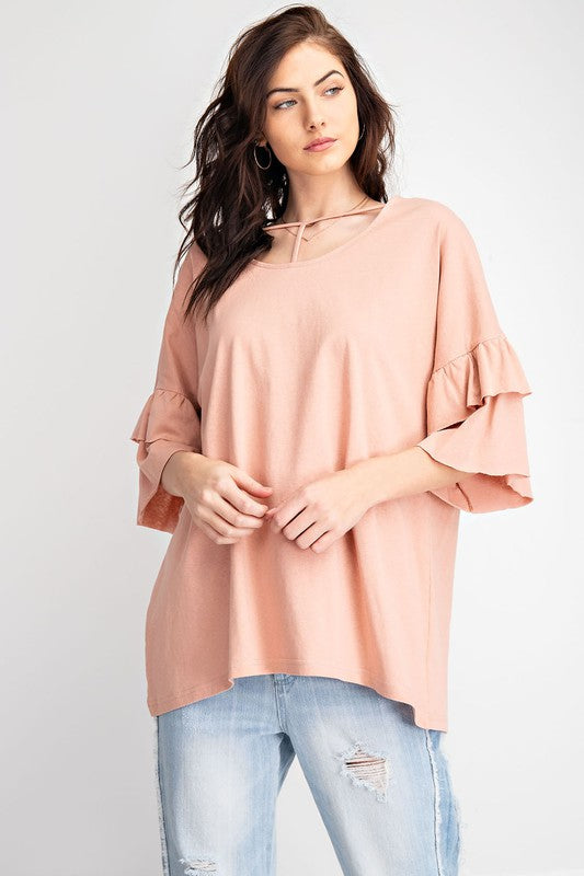 Ruffle Bell Sleeve Washed Cotton Knit Top Rose