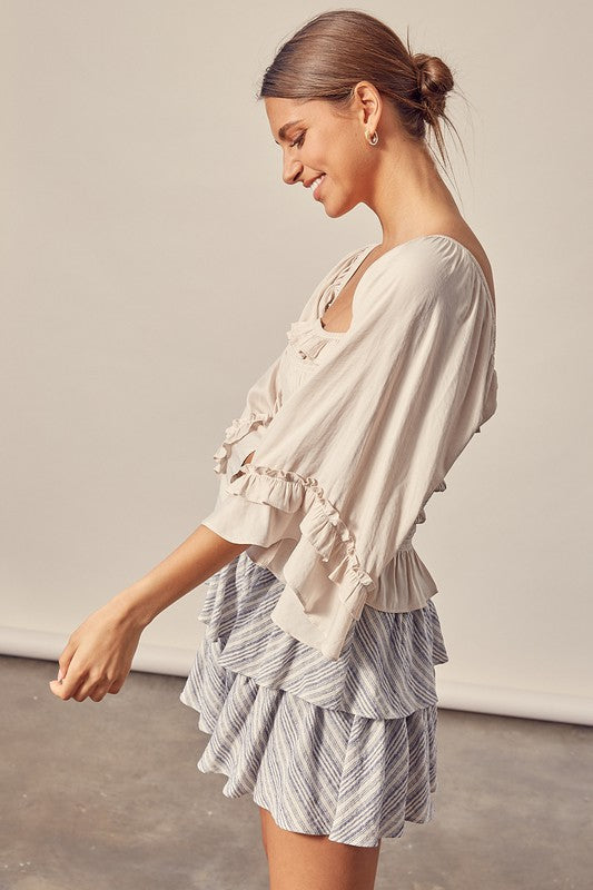 Square Neck Flowy Sleeve Top Ecru