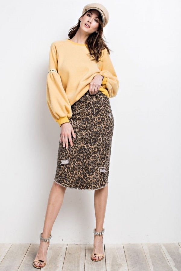 Buy Button Down Midi Skirt Distressed Leopard Print online at Southern Fashion Boutique Bliss