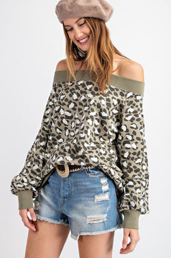 Leopard Terry Knit Off Shoulder Top Olive