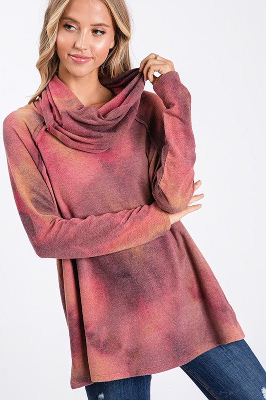 Buy Tie Dye Turtle Neck Top Mauve Mustard online at Southern Fashion Boutique Bliss