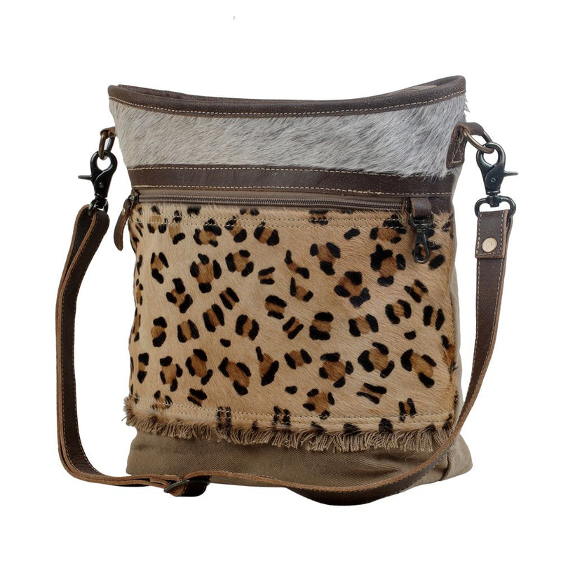 Integral Canvas & Hairon Bag Purse Leopard