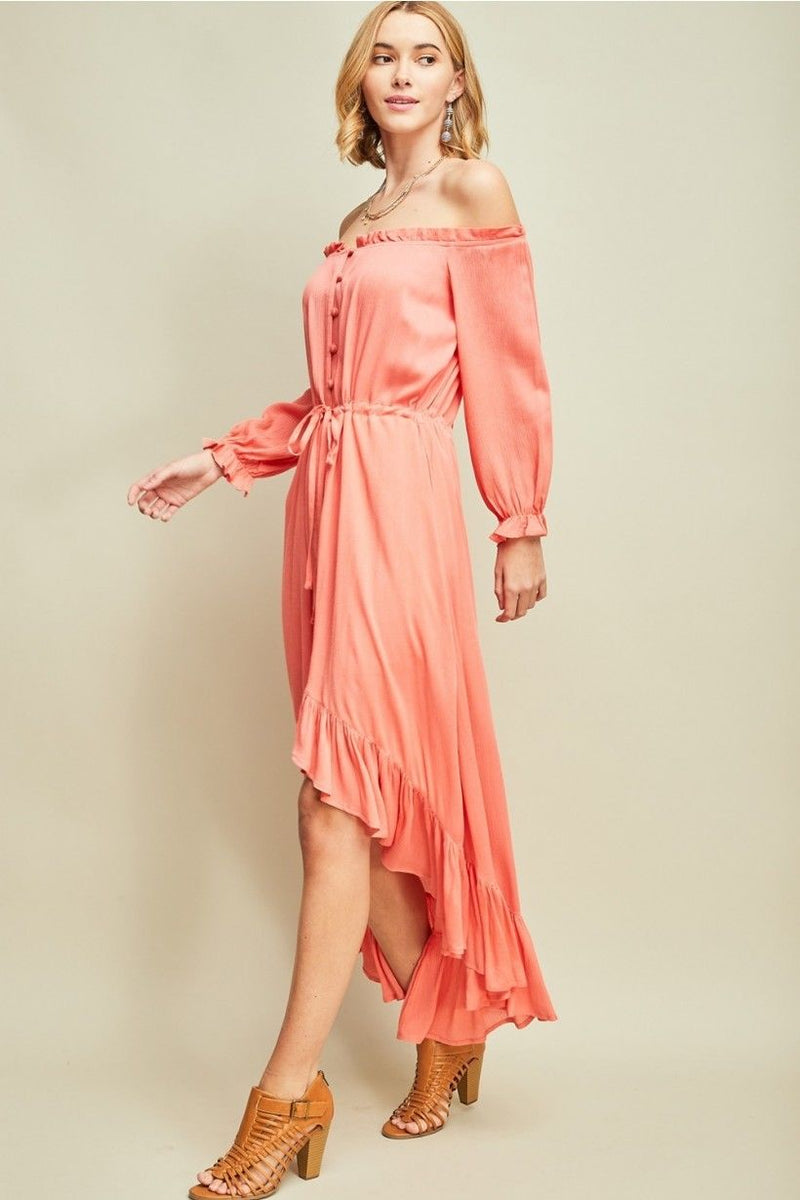 Buy Off Shoulder Button Up Maxi Dress Salmon online at Southern Fashion Boutique Bliss