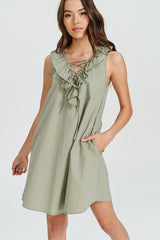 Buy Sleeveless Lace Up V-Neck Dress Light Olive online at Southern Fashion Boutique Bliss