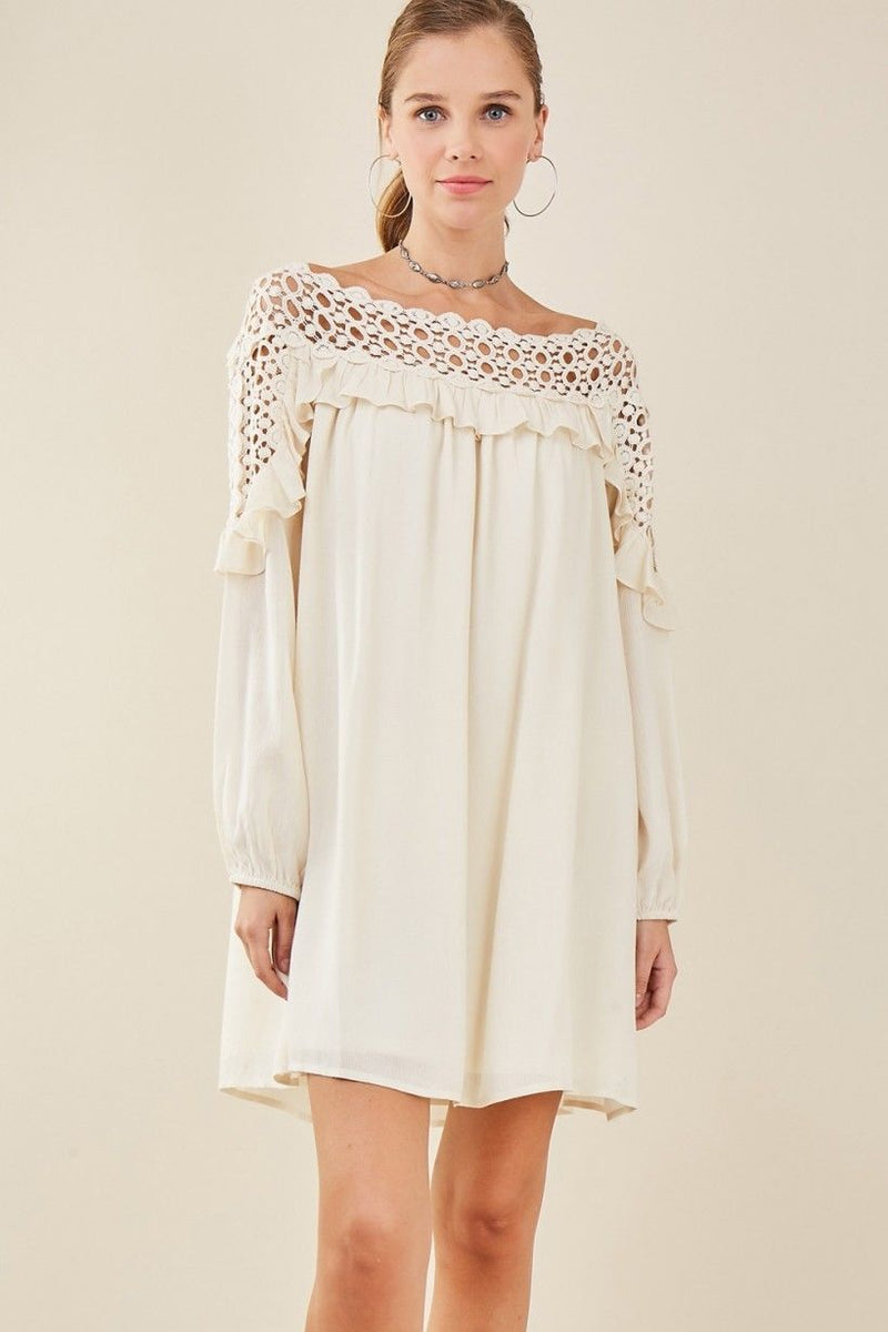 Buy Shift Dress Crochet Ruffle Details Natural online at Southern Fashion Boutique Bliss