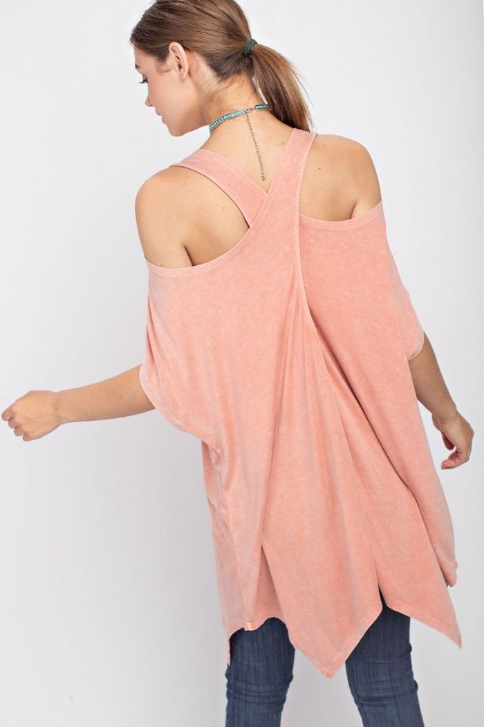 Buy Crisscross Back Tunic Top Dried Rose online at Southern Fashion Boutique Bliss
