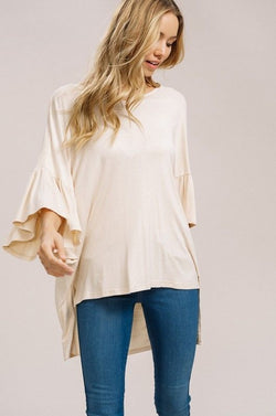 Buy Knitted Ruffle Bell Sleeves Top Natural online at Southern Fashion Boutique Bliss