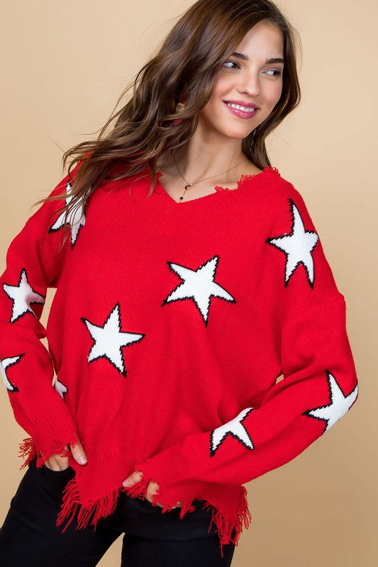 Frayed V Neck Star Print Sweater Red