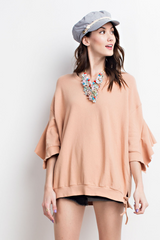Buy Ruffled Sleeve Laced Up Side Top Terra Cotta online at Southern Fashion Boutique Bliss
