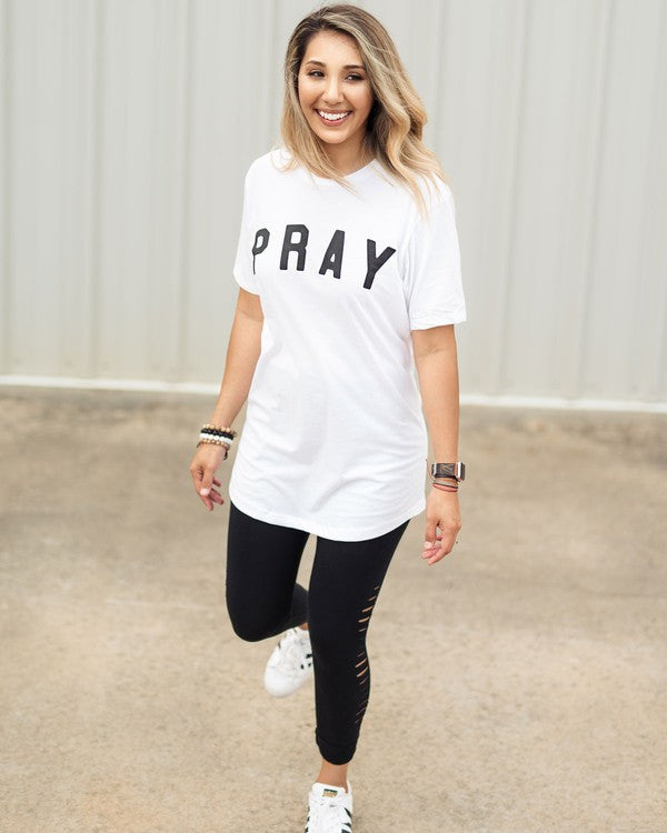 Buy Pray Graphic Longbody Tee Top White online at Southern Fashion Boutique Bliss