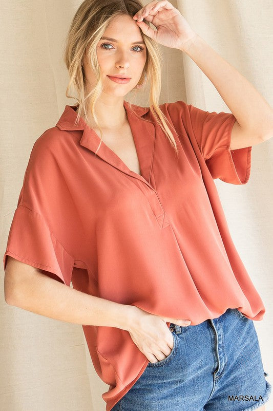 Solid Collared Short Sleeve Top Marsala