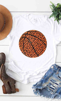 Buy Leopard Print Basketball Graphic Tee White online at Southern Fashion Boutique Bliss