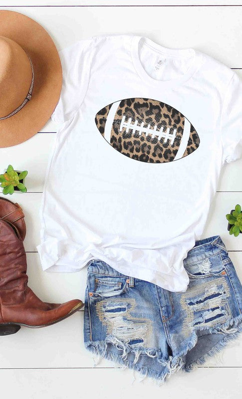 Leopard Print Football Graphic Tee White