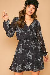 Buy Star Printed Mini Dress Black/Ivory online at Southern Fashion Boutique Bliss