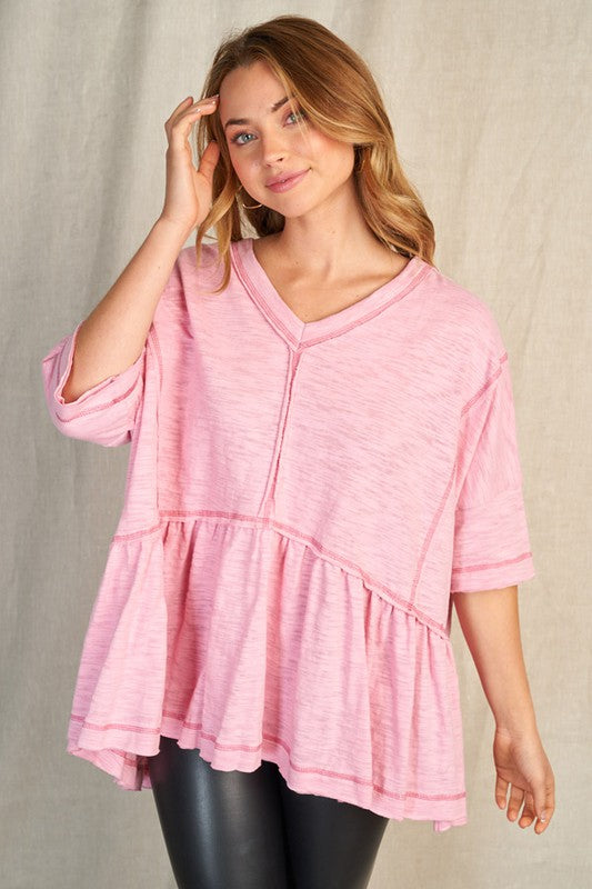 Buy Short Sleeve Solid Knit Top Pink online at Southern Fashion Boutique Bliss