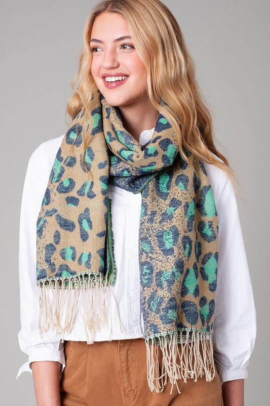 Ombre Leopard Print Fringe Scarf Mint