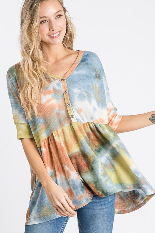 Tie Dye Button Front Top Navy/Brick