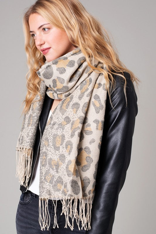 Ombre Leopard Print Fringe Scarf Yellow
