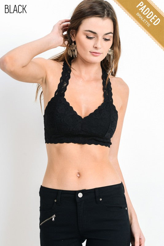 Buy Floral Lace Padded Racerback Bralette Black XL online at Southern Fashion Boutique Bliss