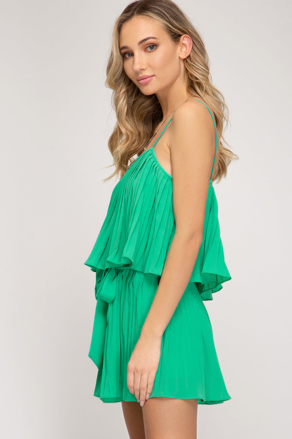 Buy Elastic Shoulder Strap Woven Romper Jade online at Southern Fashion Boutique Bliss