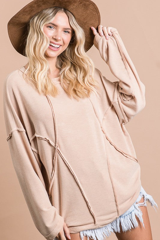 Buy Solid Stitch Loose Fit Top Apricot online at Southern Fashion Boutique Bliss