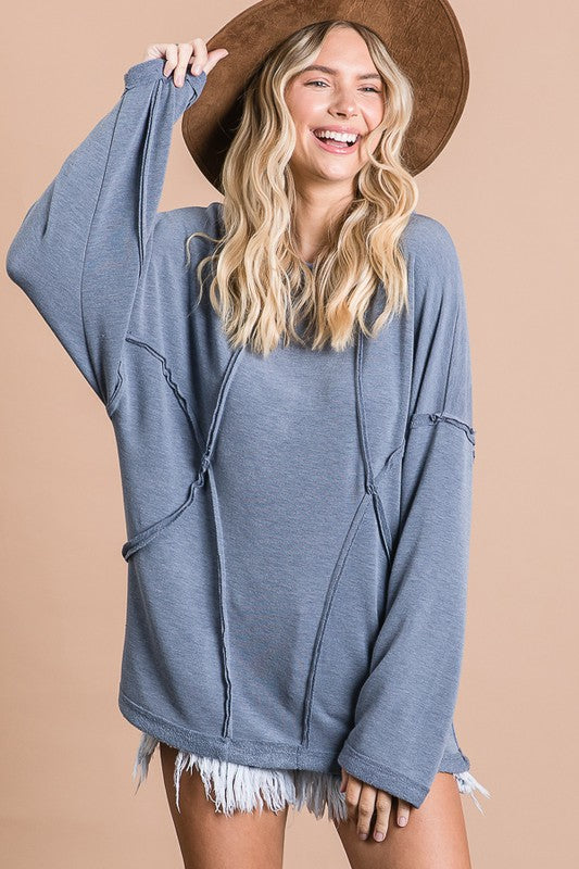 Solid Stitch Loose Fit Top Denim