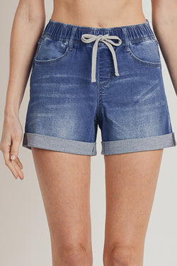 Mid Waist Elastic Band Shorts Medium Denim