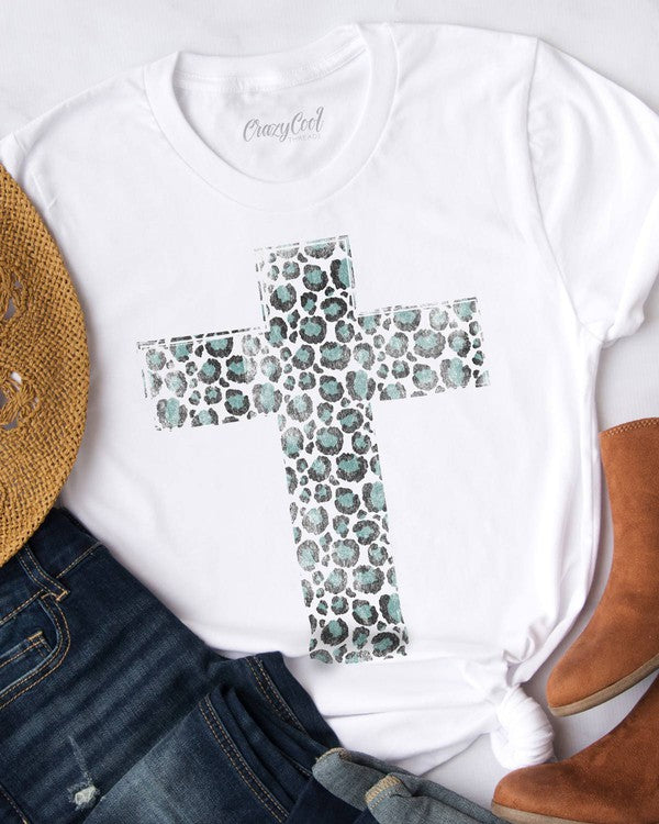 Buy Distressed Cheetah Cross Graphic Tee White online at Southern Fashion Boutique Bliss