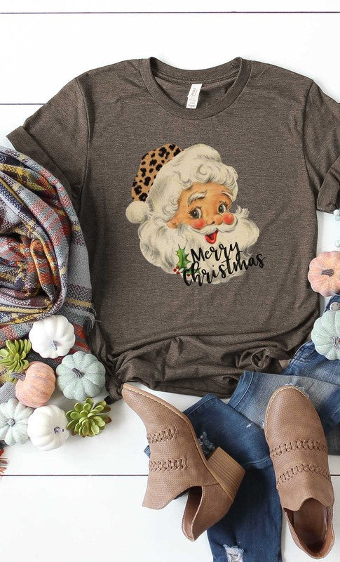 Buy Leopard Hat Retro Santa Graphic Tee Brown online at Southern Fashion Boutique Bliss