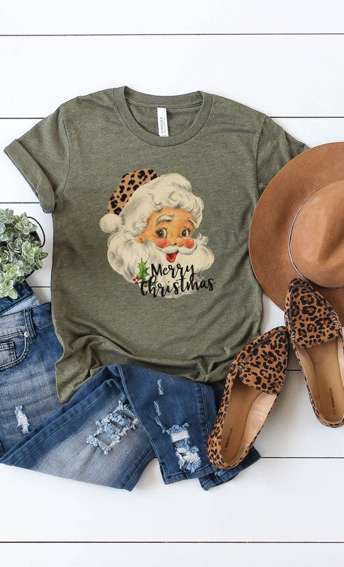 Buy Leopard Hat Retro Santa Graphic Tee Olive online at Southern Fashion Boutique Bliss