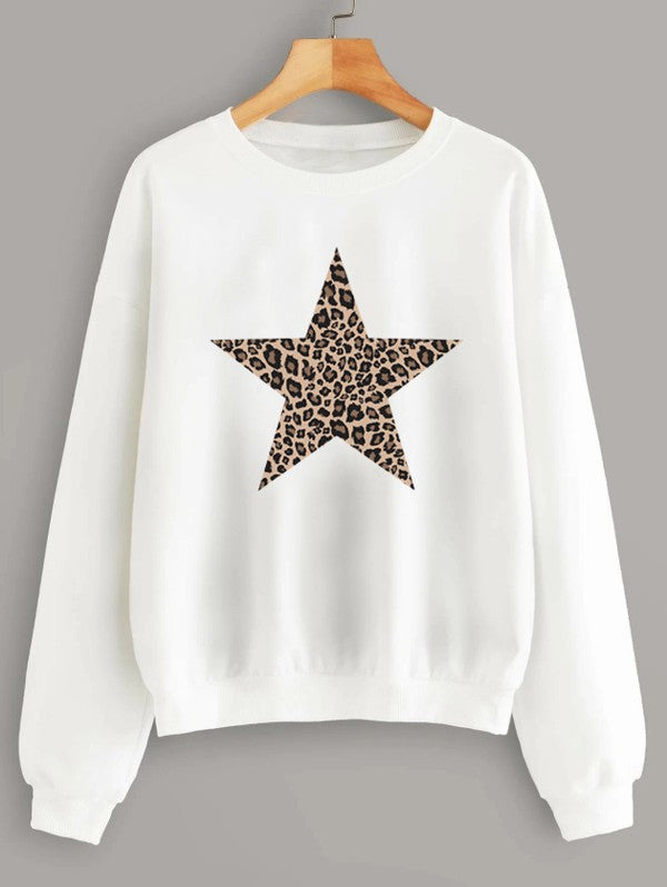 Oversized Leopard Star Sweatshirt White