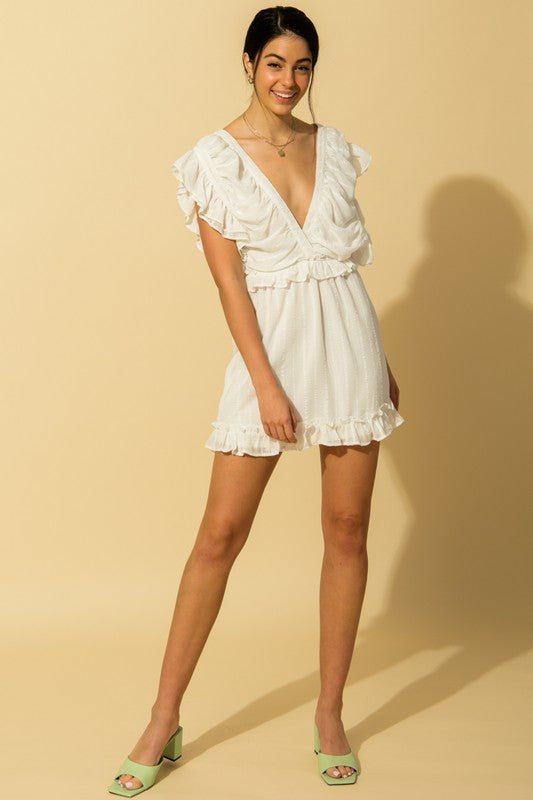 Buy Ruche Bodice Ruffle Trim Dress Off White online at Southern Fashion Boutique Bliss