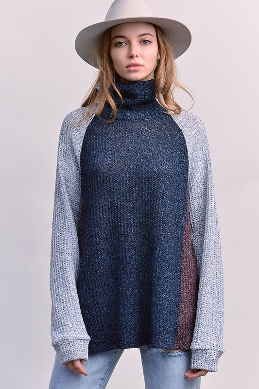 Buy Solid Turtleneck Sweater Top Navy/Grey online at Southern Fashion Boutique Bliss