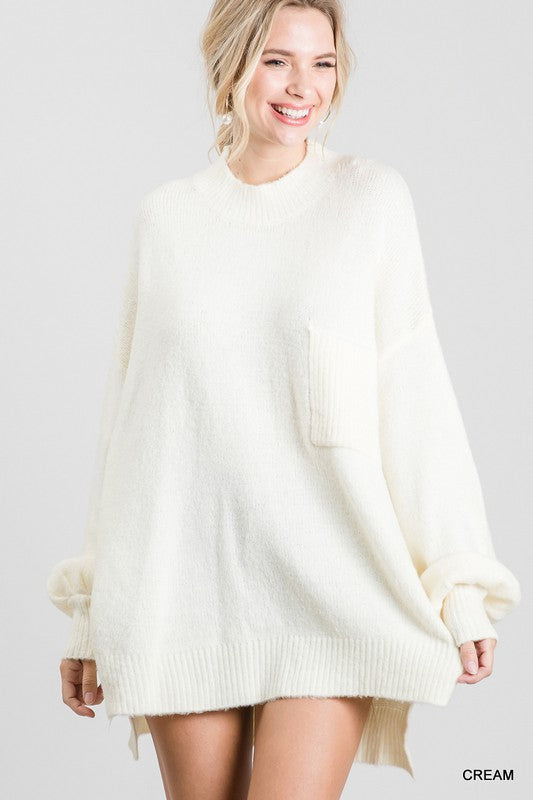 Bubble Sleeve Pocket Sweater Cream