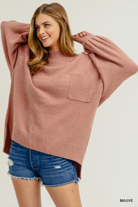 Bubble Sleeve Pocket Sweater Mauve