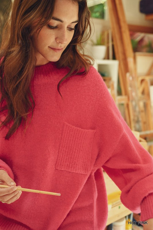 Bubble Sleeve Pocket Sweater Hot Pink