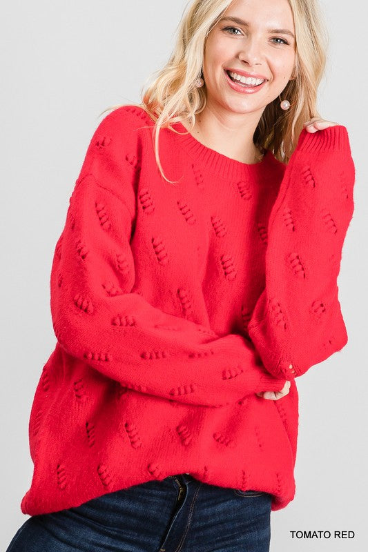 Textured Crew Neck Pullover Top Red