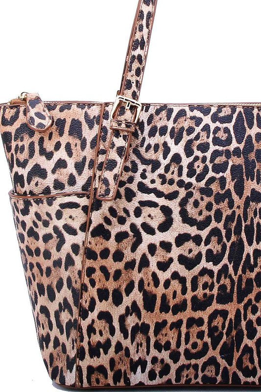 Smooth PU Leather Leopard Bag Tan