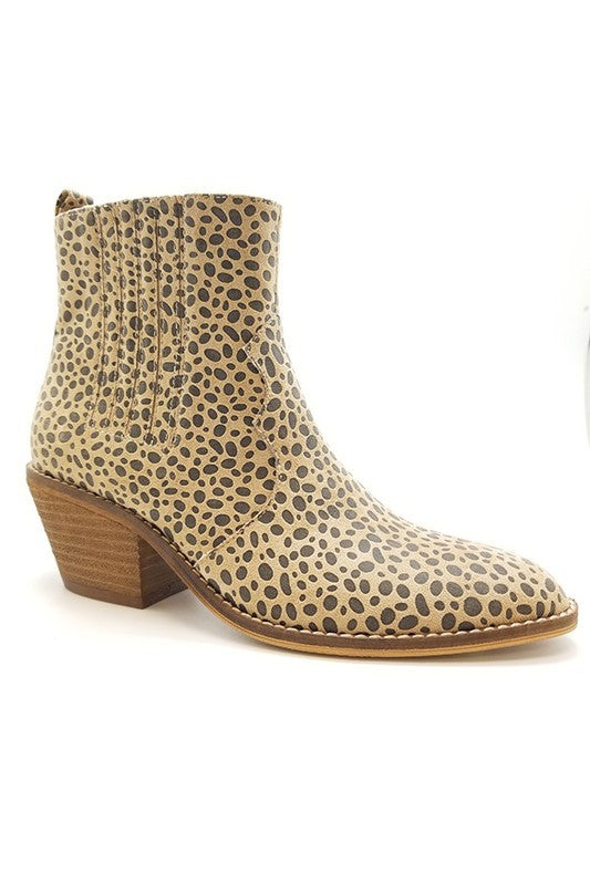 Leopard Casual Suede Side Elastic Slip On Bootie