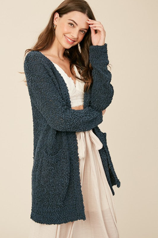 Broccato Popcorn Chunky Open Cardigan Green