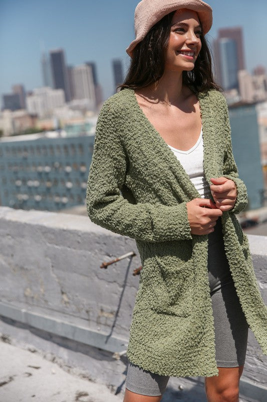 Broccato Popcorn Chunky Open Cardigan Olive