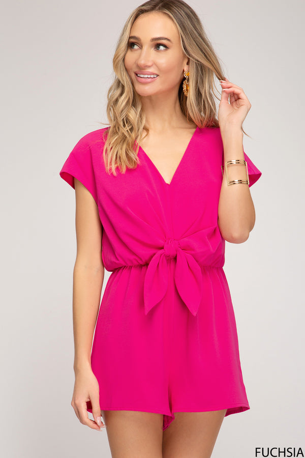 Drop Shoulder Woven Romper Fuchsia